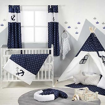Azul marino anchor parche náutico cuna cama
