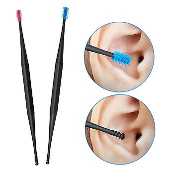 2pcs Ear Pick Reusable Soft Silicone Spiral Rotating Ear Cleaning Stick