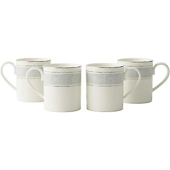 Amazon Brand - DZK Tea Coffee Cups Mugs Set 4 Premium Porcelain Classic Pattern with Silver Banding