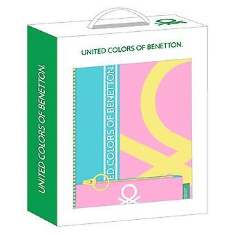 Lahjasetti Benettonin värilohko pieni keltainen vaaleanpunainen turkoosi