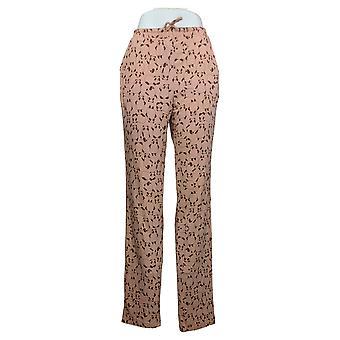 Chiunque donna pantaloni jersey stampato con cintura rosa A387705