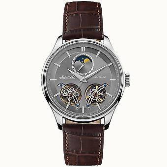 Ingersoll I07201 El Acorde Automático Plata y Cuero Marrón Reloj de Hombre