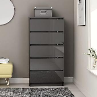 vidaXL sideboard with drawers high gloss grey 60x35x121 cm chipboard