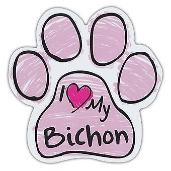 """Magnet, Hundepote, Rosa Skribleri, Jeg elsker min Bichon, 5.5"""" X 5.5"""""""