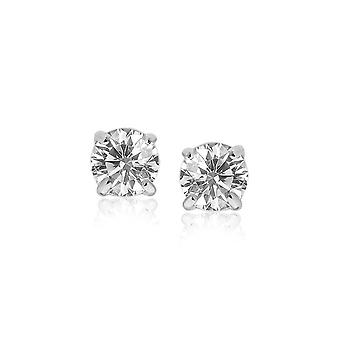 14k  Stud Earrings with White Hue Faceted Cubic Zirconia