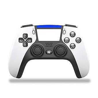 Bluetooth Wireless Game Controller For PS4 Console with PS5 Style Double Vibration Game Gamepad(white)