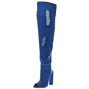 Steve Madden Womens Tonic stoff Peep Toe Over kneet mote støvler