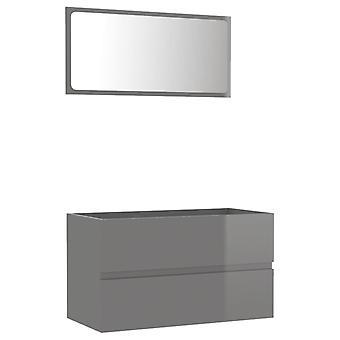 vidaXL 2 kpl. Kylpyhuoneen huonekalut setti kiiltävä harmaa lastulevy