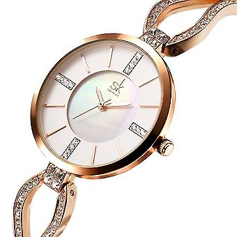 Casual SK K0020 Diamond Dial Case Ladies Wrist Watch Stainless Steel Strap Quartz