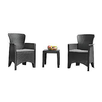 Trädgårdsmöbler set 2 stolar & bord + kuddar – Svart Rotting + trä look