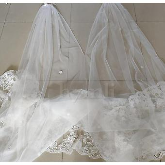 Wide Bridal Cape Veil, Cathedral Lace Wedding Dress Veil