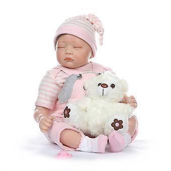 55Cm bebe reális újjászületett iker baba baba alszik / ébren élethű puha szilikon valódi érintés súlyozott test gyökerező haj