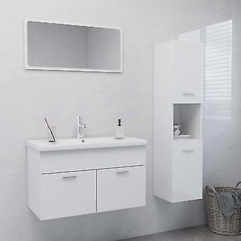 vidaXL Arredo Bagno Set High Gloss White Chipboard
