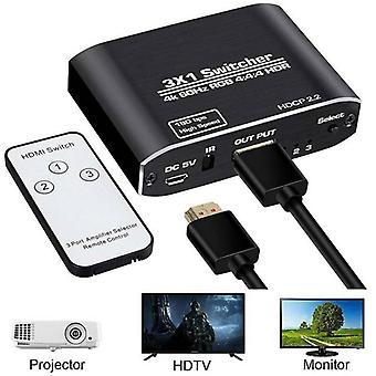 Commutateur HDMI 4K HDR Splitter Aluminium 3-en-1 Sortie avec moniteur de télécommande IR