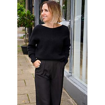 Loop Ribbed Batwing Open Neck Sweater In Black