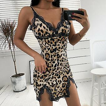Summer- Leopard Printed Lace Lingerie V-neck Strap Night Gown