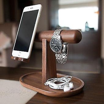 מארגן עץ עבור שעון טלפון ותכשיטים