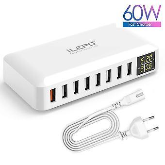 Biała 8-portowa ładowarka USB o przekątnych 60 W QC3.0 HUB smart fast charging LED display multi-mobile desktop home