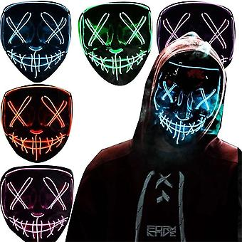 Halloween Clubbing lyser op LED Mask Costume Rave Cosplay Party Purge 3 Modes