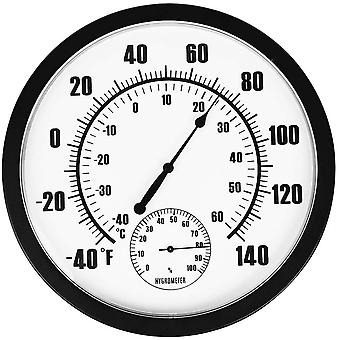 """10"""" Indoor Outdoor Weather Thermometer / Hygrometer For Patio, Wall"""