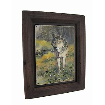 Big Sky Carvers Grey Wolf Wood Frame Wall Art