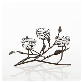 Gallery of Light Birds and Branches Triple Nest Tealight Candle Holder, Pack of 1