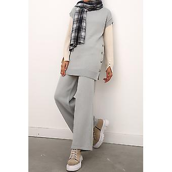 Turtle Neck Sweater And Pants Knitwear Set