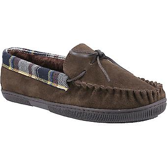 Cotswold Heren Sodbury Slip On Suede Moccasin Slippers