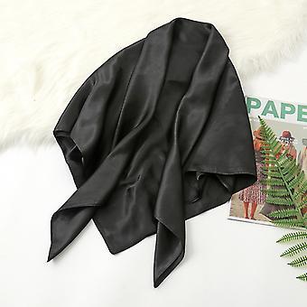 35 polegadas cetim cabeça lenço grande vintage quadrado pele de seda sensação de cetim preto
