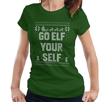 Go Elf Yourself Christmas Knit Pattern Women's T-Shirt