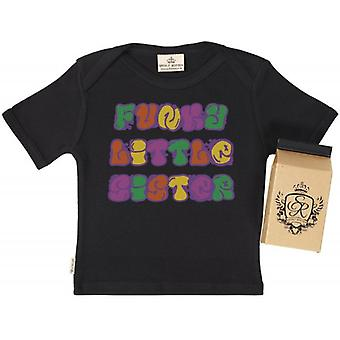 Spoilt Rotten Funky Little Sister Babys T-Shirt 100% Organic In Milk Carton
