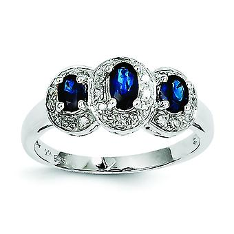 925 Sterling Silver Polished Open back Rhodium-plated Rhodium Sapphire and Diamond Ring - Ring Size: 6 to 8