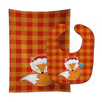 Carolines Treasures  BB9175STBU Christmas Fox #3 Baby Bib & Burp Cloth