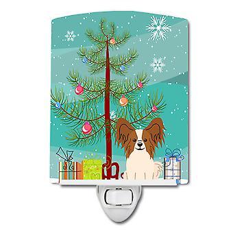 Веселая Рождественская елка Papillon Красный Белый керамический ночной свет