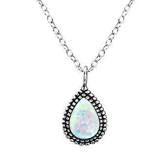 Teardrop - 925 Sterling Silver Jewelled Necklaces - W27081X