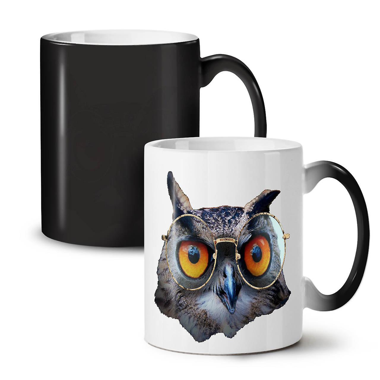 eule brille hipster lustige neue schwarze farbe wechselnden tee kaffee keramik becher 11 oz. Black Bedroom Furniture Sets. Home Design Ideas