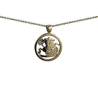 9ct Gold 20mm round Saint George and the Dragon Pendant