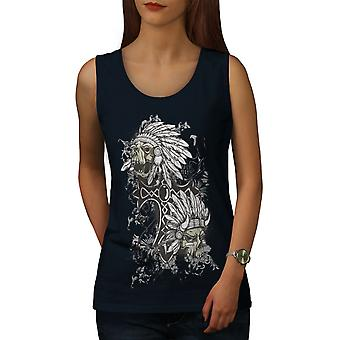 Evil Indian Head Skull Kadınlar NavyTank Top | Wellcoda