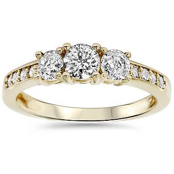 1ct-3 Stein Diamant-Verlobungsring 14K Gelbgold