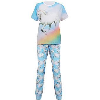 Noël à manches courtes Womens/dames élastiquée pyjama Licorne