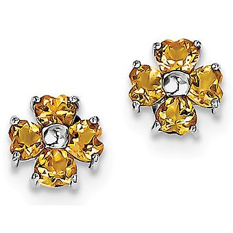 Natural Citrine 1.70 Carat (ctw) Heart Flower Post Earrings in Sterling Silver
