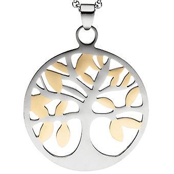 Collana a catena con ciondolo albero della vita in acciaio inox cm 46 bicolore verkürzbar