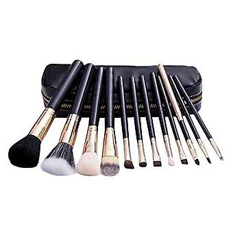 12 Make Up Brushes Set - Goat and Nylon Hair Aluminium Ferrule Natural Wood Handle Black PU Bag