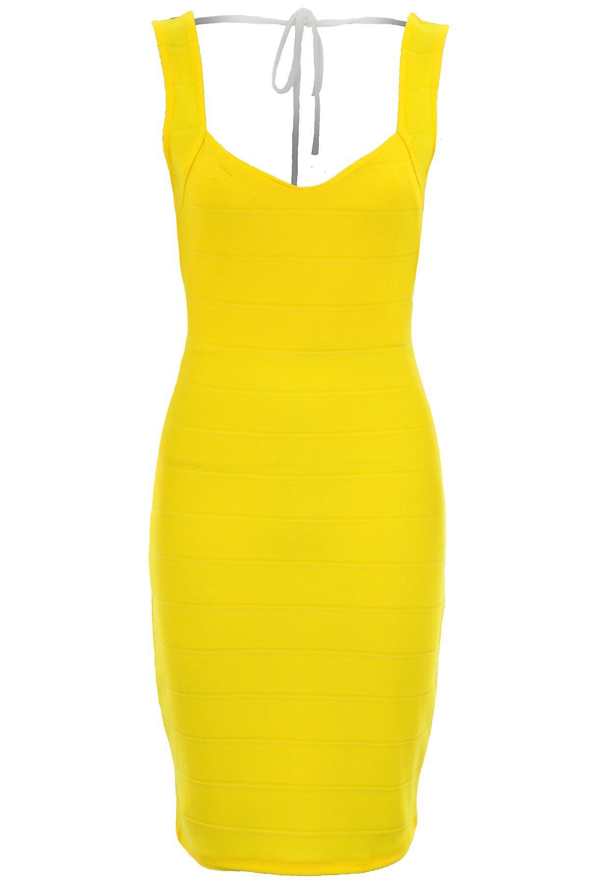Hyvät Celeb Charlotte Side Ribbed Backless keltainen Bodycon seksikäs mekko