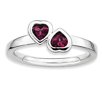 925 Sterling Silver Bezel Polished Rhodium plated Stackable Expressions Rhodolite Garnet Double Love Heart Ring Jewelry