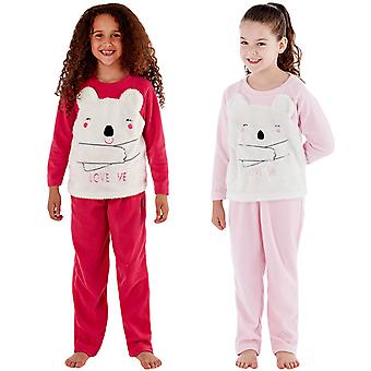 Cute Girl Kids Childrens CiCi Beer Love Me Fleece Lounge Pyjamas Pjs Set