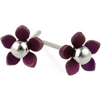 Ti2 Titanium 8mm fünf Blütenblatt poliert Bead Blume Ohrstecker - Coffee Brown
