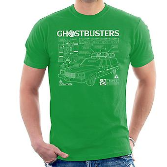 Ghostbusters Ecto 1 Blueprint White Text Men's T-Shirt