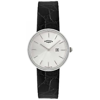 Roterende Mens Black Leather Strap | Silver Dial GS21226/06 Watch