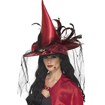 Witch Hat With Feathers and Netting, Red